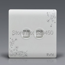 Free Shipping, Kempinski Luxury Wall Socket, Ivory White, Brief Art Fashion, Double Computer Outlet  AC 110~250V