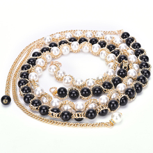1Pcs Women Metal waist chains luxury pearl belt All-match Dress strap Inlaying Rhinestone Pearl Elastic Belts For Women Girls