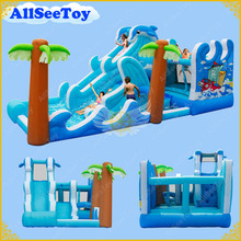Family Use Inflatable Bouncy Calstle Combo Water Slide Pool,Inflatable Bouncer for Kids,Jumping Castle with Air Blower