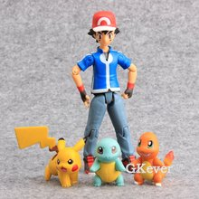Japanese Cartoon Pocket Figma 052 Ash Ketchum Pikachu Squirtle Charmander PVC Action Figure Collectible Model Toy 3.5-12 CM - LazyCorner Intl. Group Co.,Ltd. store