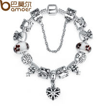 BAMOER Luxury Silver Charm Bracelets & Bangle for Women With High Quality Murano Glass Beads DIY Christmas Gift PA1801