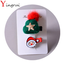 2Pcs/set Cute Mini Hat Fluffy Pom Princess Hairclip Christmas Santa Snowman Hairpins Kids Hair Ornaments Barrettes HeadwearGift(China)
