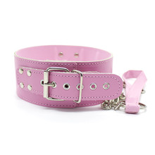 Buy pink Leather Bdsm Fetish Bondage Sex Collar Leash Adult Game Collars Sex Toys Slave Collar Erotic Neck Collar sex products