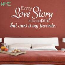 "New Wall Stickers Home Decoration -English ""Every Love Story Is Beautiful"" Vinyl Lettering Words Wall Art Quote Stickers(China)"