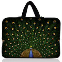 "13"" Green Peacock Neoprene Soft Laptop Netbook Sleeve Bag Case Cover +Hide Handle For Macbook Pro 13"" Retina Display"