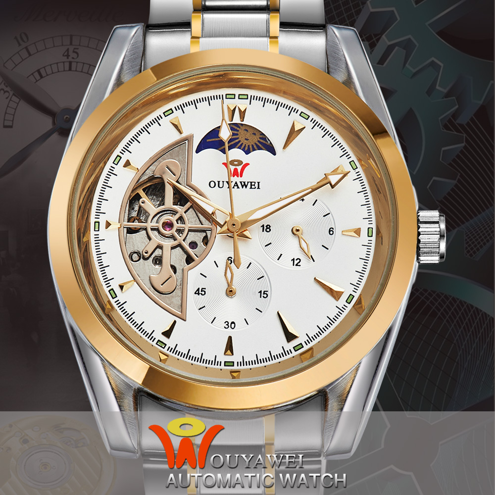 OUYAWEI Men Moon Phase Gold Case Luxury Automatic Mechanical Stainless Steel Strap Buckle Wristwatch<br><br>Aliexpress