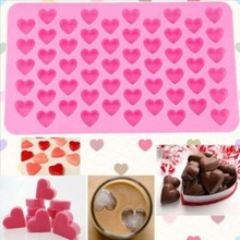 Kitchen Baking Tools 55 Holes Cute Heart Style Silicone Chocolate Mold Ice Candy Lolly Muffin Mould Valentine Gift Maker D0136(China)