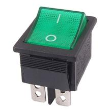 5 pcs Promotion ! Green Light 4 Pin DPST ON/OFF Snap in Boat Rocker Switch 16A/250V 15A/125V AC
