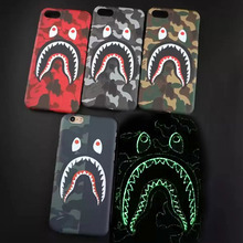 Ultra Slim Camouflage Bathing Ape Man Shark Head Frosted Luminous Glow Hard Case Cover For iphone 6S Plus 6 7 Plus Coque Capa