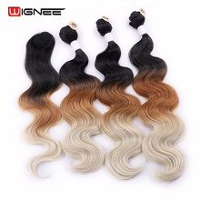 Wignee Black Root To Brown Blonde 613 Ombre Color Synthetic Hair Extension 4 Pcs/Lot Body Wave 3 Bundles With A Piece Of Closure(China)