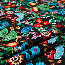 1yard Black Mesh Couture Fashion Fabric Vogue Sexy Embroidery Colorful Floral Sculpture Sew for Top Skirt Dress Craft Wide 130cm