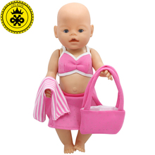 43cm Baby Born Zapf Doll Clothes Pink Beach Dress Suit + Scarf + Bag Baby Born Doll Accessories Children Best Gift 199(China)