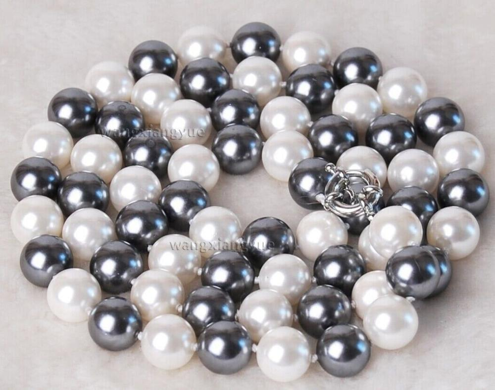 stunning 10-11 mm TAHITIAN BLACK WHITE PEARL NECKLACE 18""