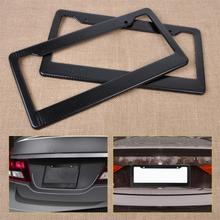 DWCX High Quality 2pcs JDM Front Rear Carbon Fiber Look USA/Canada License Plate Frame Tag Cover Holder for Auto Truck Vehicles