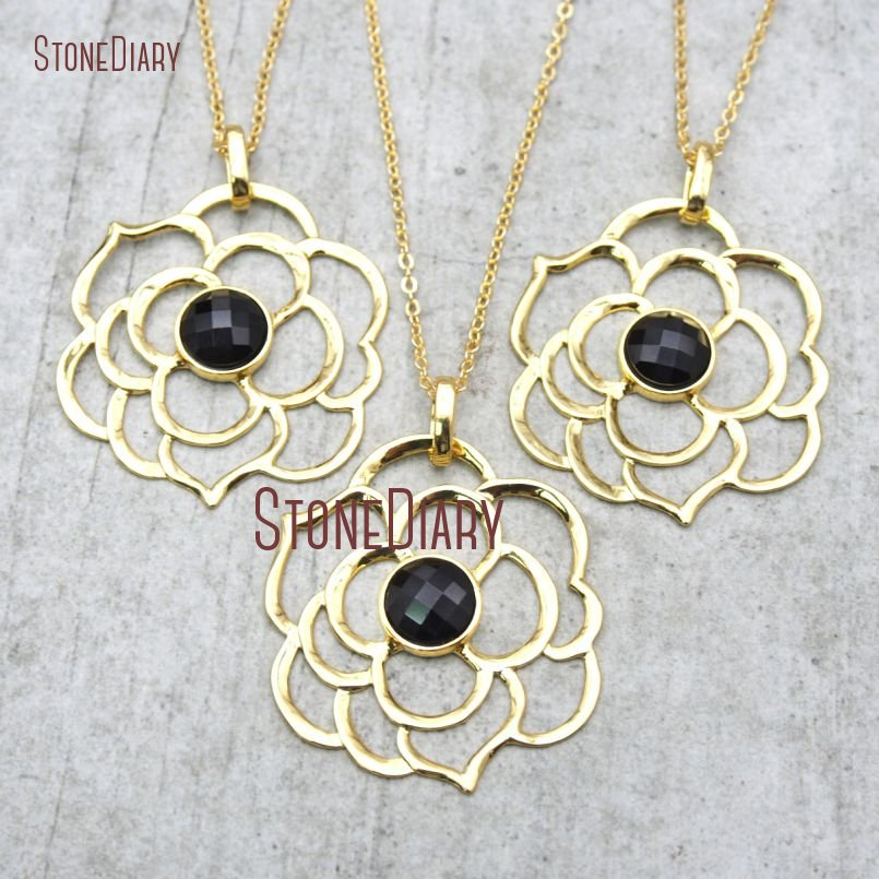 10Pcs Onyx Chains Necklaces Gold Electroplated Faceted Rosa Rugosa Chains Necklaces 18-32inch NM15785