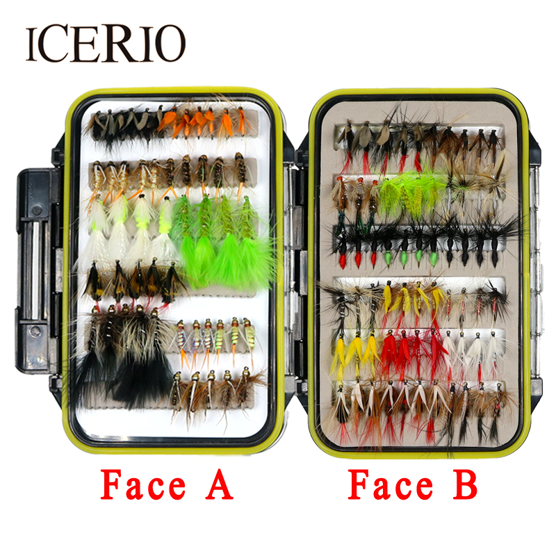ICERIO 116pcs/set Fishing Fly Dry &amp; Wet &amp; Streamers &amp; Steelhead &amp; Nymphs Worms Flies Trout Salmon Fishing Lure<br>