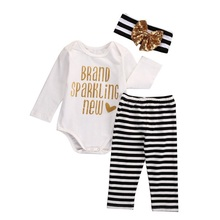 Factory Price Bronzing Baby Girls Tops Stripe Leggings Pants Headband Outfits 3pcs Set Clothes Top Quality