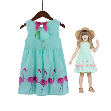 Oklady 2017 New Summer Girl's Dresses Girls Clothing Flamingo Pattern Girl's Outwear with Bow Good Quality