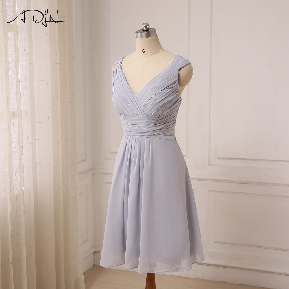 ADLN Cheap Sexy Short Bridesmaid Dresses Knee Length Cap Sleeve Chiffon Bridesmaid Gowns For Wedding Party Lace Up Back 6