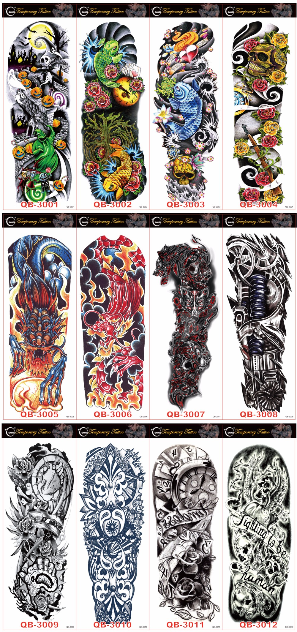 Waterproof Temporary Tattoo Sticker full arm large size robot arm tatto flash tatoo fake tattoos sleeve for men women 19 3