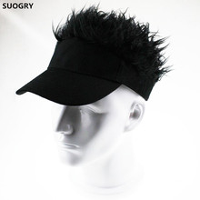 SUOGRY Hot New Fashion Novelty Baseball Cap Fake Flair Hair Sun Visor Hats Men's Women's Toupee Wig Funny Hair Loss Cool Gifts