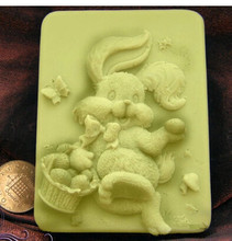 Hot 3D Easter Bunny /rabbit shape handmade soap mold animal candle molds silicon mould Chocolate Candy Moulds Form of Cake