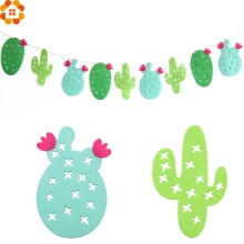 1Set Non-woven Fabrics Cactus Garland Banner Fresh Green Bunting Garland Party Favors Home Decor Swimming Pool Party Supplies
