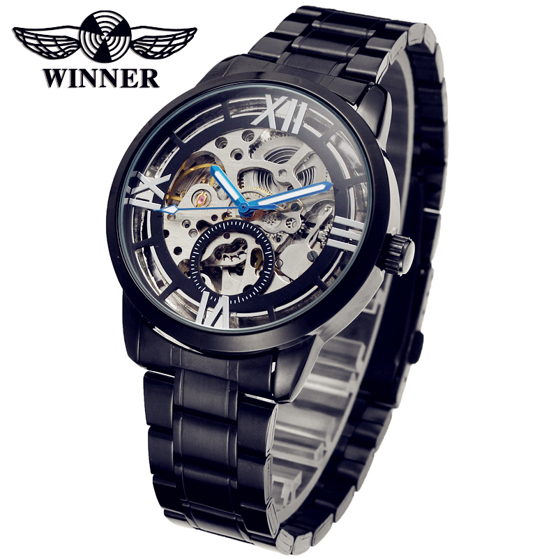 WINNER Men Brand Roman Number Skeleton Stainless Steel Strap Watch Automatic Mechanical Wristwatches Gift Box Relogio Releges<br>