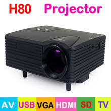 Free Shipping! H80 80 Lumens LED Portable Mini Projector 640 x 480 Pixels Support 1080P with AV/USB/VGA/HDMI/SD Card TV Slot
