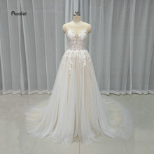 2017 Real Sample Beautiful Tulle Wedding Dresses Scoop Lace Appliques Buttons Sleeveless Sweep Train Bridal Gown Custom Made