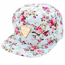 Summer High Quality Women Floral Flower Print Snapback Baseball Caps Hip-Hop Hat Flat Adjustable Casquette Cotton Cap Wholesale