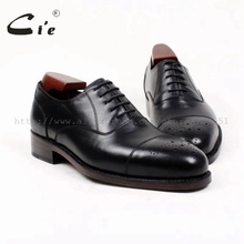 cie Free Shipping Custom Handmade Goodyear Welted Genuine Calf Leather Upper Outsole Men's Dress Oxford Color Black Shoe OX393(China)