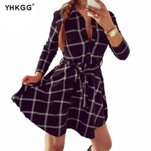 the target of leisure old dresses autumn women plaid check print spring daily shirt Ankle-Length