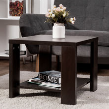 Giantex Living Room End Coffee Table Square Sofa Side coffee Tea Table with Storage Shelf Modern Wood Home Furniture HW56759CF(China)