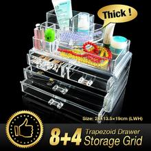 Cheap+49%off Acrylic Makeup Organizer cosmetic makeup jewelry lipstick brush 4 drawers clear acrylic case organizer storage box(China)