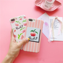 Cool Summer Fruit Peach Phone Cases For iPhone 7 7Plus 6 6s Cute Cartoon Stripes Hard Frosted Back Cover Coque For iphone 6Plus
