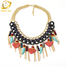 Buy New Arrival Women Fashion Necklace Double-Deck Gold Color Chain Statement Necklace Red Love Heart Tassel Necklaces & Pendants for $7.11 in AliExpress store