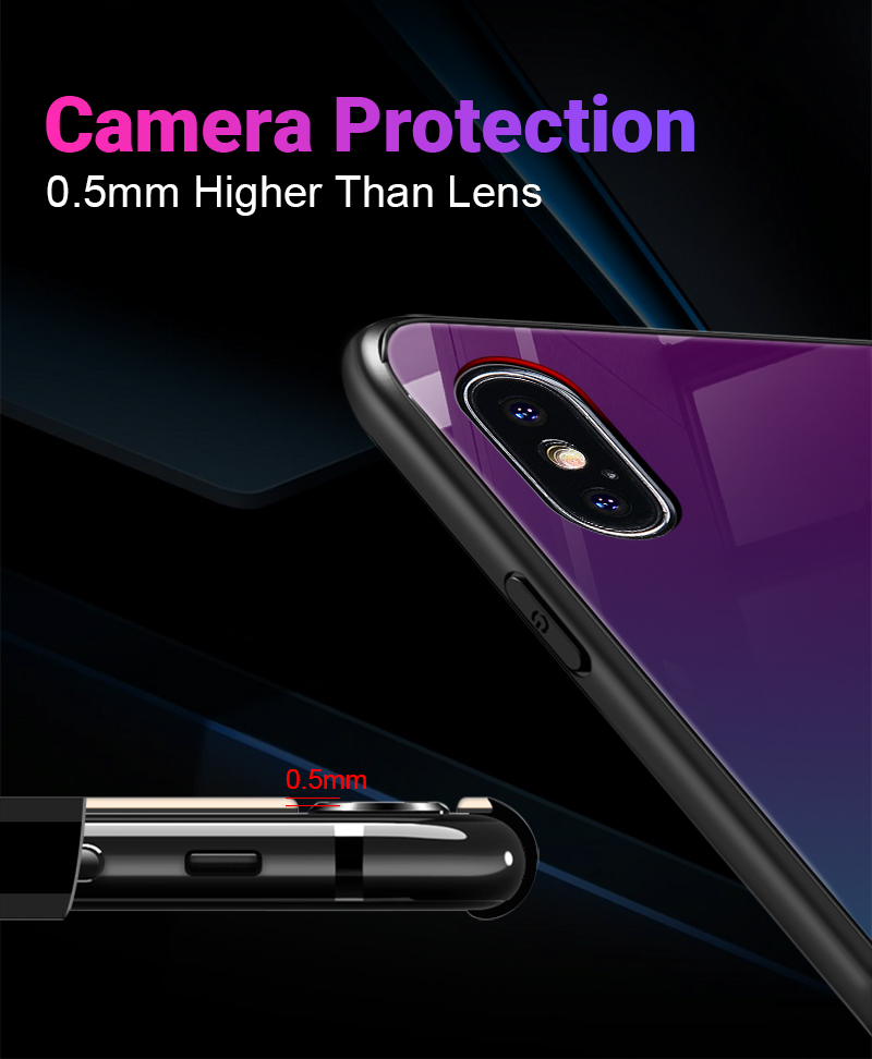 Hisomone Gradient Glass Case For iPhone 7 8 Cases For iPhone Xs Max Back Cover Silicone Phone Case For iPhone X Xr 6 6S 7 8 Plus
