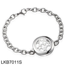 Star Aromatherapy Perfume Locket Essential Oil Diffuser Bracelet Adjustable Link Chain Bangle 316L Stainless Steel(China)