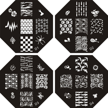 Hot D Octagonal 12 Styles Big Flower Nail Art Stamp Template Image Plate Nail Stamping Plates(China)