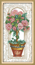 Joy sunday floral style Roses on the windowsill design free printable cross stitch patterns flowers kits for beginners