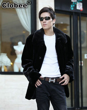 Black Men Coat 2017 Plus Size Faux Mink Fur Outerwear Full Sleeve Medium-long 2018 Loose Winter Warm Jacket Coat XXXL X665