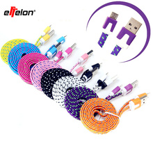 Effelon Micro USB Cable 1M 2M 3M Cable USB Data Sync Fabric Woven Charger Cable for Smart Phone for tablet PC