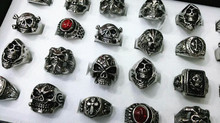 Wholesale lots 24pcs Mixed Styles Gothic Cool Boy Men's Vintage Silver 316L Stainless Steel Cross Skull Head Rings MXB
