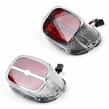 Motorcycle Red LED Tail Brake Light Lamp For Harley Road King Glide Fat boy Touring 1 PCS Black Chrome High Quality Motorbike(China)