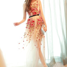 dresses Perspective  flower one-piece formal party  costumes stage show singer performance prom wedding nightclub bar
