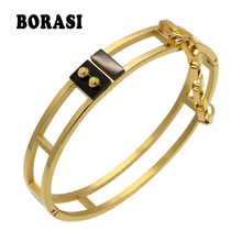 2017 New Arrival Rivet Bracelet Pattern Trendy Yellow Gold Color Unisex Jewelry Nail With Chain Cuff Bracelets & Bangles Gift(China)
