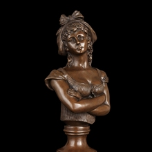 Classical Figure Feminine sculpture Maid Lucy Bust Bronze Figurine Home Decor sculptures buste statue Factory cost(China)