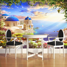 Custom 3D Photo Wallpaper Aegean Romantic Castle Ocean Seagull Ship Wall Mural Living Room Wall Decoration Home Wallpaper Modern(China)
