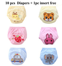 10pcs/lot 3Size Cotton Cloth Diaper Super Breathable And Reusable Baby Diapers Cover Kids Trainning Pants Clothes Nappy 6 Colors